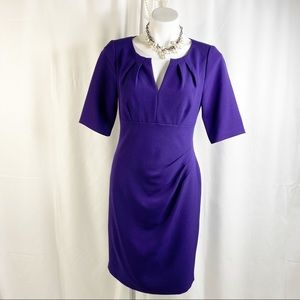 Adrianna Papell Dresses V Cutout Cinched Amethyst Dress